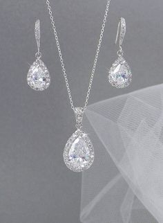 Crystal Bridal Earrings. Crystal wedding earrings,  Crystal Pendant, Bridesmaids jewelry, Ariel Bridal Jewelry SET