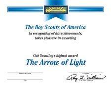 arrow of light certificate