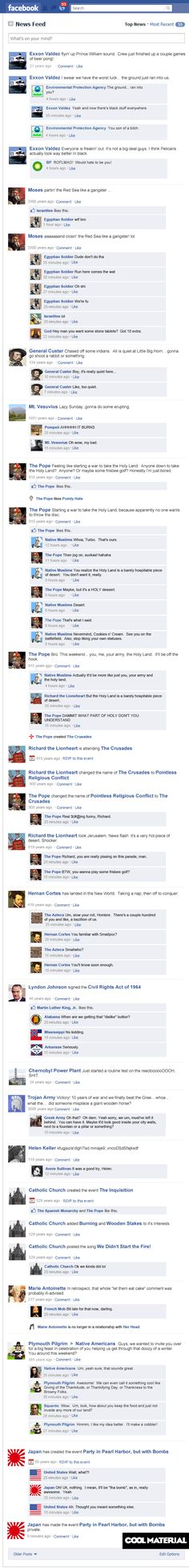 """If historical events had a facebook status. Pretty funny! My favorite is Helen Keller's """"status"""" =]"""