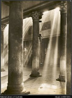 Study of the columns and apses in the Church of the Nativity, Bethlehem, Palestine, ca. 1940s [picture] / Frank Hurley