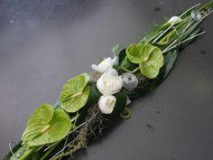 Contemporary Flower Arrangements, Creative Flower Arrangements, White Flower Arrangements, Flower Arrangement Designs, Ikebana Arrangements, Flower Designs, Casket Flowers, Grave Flowers, Church Flowers