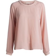 LONG SLEEVED BLOUSE ($28) ❤ liked on Polyvore featuring tops, blouses, pink top, long sleeve tops, long sleeve blouse, pink blouse and pink long sleeve top