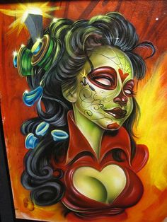"""Electric Day of the Dead"" by Joe Capobianco of Hope Gallery Tattoo"