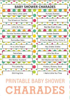 baby shower charades word ideas activity printables pinterest