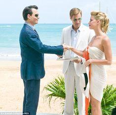 The Rum Diary film.. Johnny Depp as Paul Kemp and Amber Heard as Chenault.. #onscreenlove #reallove #beachwedding
