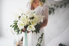 White bridal bouquet with aqua ribbons | JessaKae Photography | see more on: http://burnettsboards.com/2015/01/song-siren/