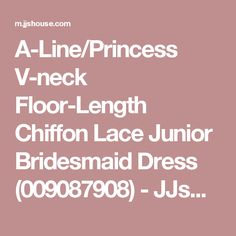 A-Line/Princess V-neck Floor-Length Chiffon Lace Junior Bridesmaid Dress (009087908) - JJsHouse