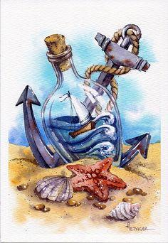 Просмотреть иллюстрацию Морская из сообщества русскоязычных художников автора Анна Петунова в стилях: Декоративный, Книжная графика, Реализм, нарисованная