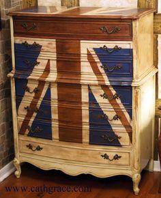 painted furniture union jack autumn vignette. DIY Union Jack Projects For Home | Jack, Ottomans And Floral Sofa Painted Furniture Autumn Vignette