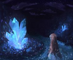 Crystal Cave - dress, lovely, beauty, river, girl, pretty, anime girl, cave, light, blonde hair, anime, dark, glow, beauitful, woman, female, lady, crystals, blue, water, long hair, darkness