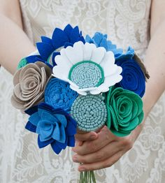 I think this is pretty adorable even if it's not just navy and silver!   Crisp Morning Felt Bouquet