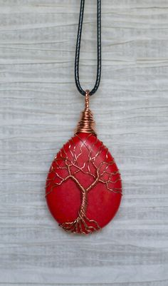 Tree of Life Wire Wrapped Red Stone Necklace