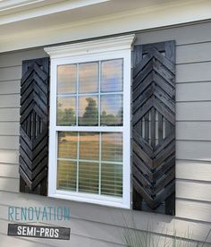 Want designer shutters without the designer-cost? Check out this tutorial and get inspired to go beyond basic and create your own DIY custom shutters! Custom Shutters, Diy Shutters, Exterior Shutters, Exterior Paint, Modern Shutters, Indoor Shutters, Home Upgrades, Home Renovation, Home Remodeling