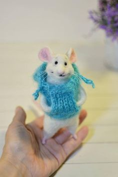 The cute little mouse in a jumpe. Mouse wool; paws and tail on the wire, eyes-beads. ==DETAILS== ••• Made to order! Each new toys will be different, not like the previous one, with its own unique character. Please inquire beforehand if I can take any orders. I write your orders into