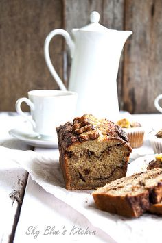 chOcOlate peanut butter marbled banana bread