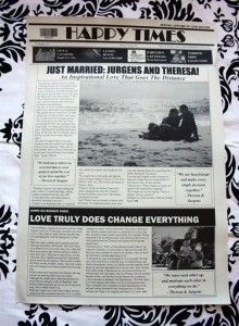 Theresa and Jurgens South African Wedding Favor - A Wedding Newspaper Favor from NewsFavor.com, the personalized newspaper keepsake specialists. 100% Filed with Love, Delivered Across the Globe.  #wedding #favor #keepsake  Contact info@newsfavor.com to order