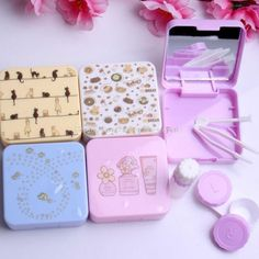 New fresh contact lens case for women and men with mirror plastic eyeglasses case beauty Korean style contact lenses box
