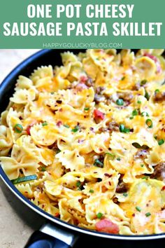 The best One Pot Meal! This One Pot Cheesy Sausage Pasta Skillet is full of sausage, veggies, cheese and tons of flavor. An easy dinner recipe your entire family will love. Easy dinner ideas. Quick family friendly meals. Quick dinners. Cheesy Sausage Pasta, Easy Skillet Meals, Inexpensive Meals, Best Dinner Recipes, One Pot Meals, Food To Make, Macaroni And Cheese, Cooking, Ethnic Recipes
