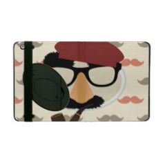 Mustache Disguise Glasses Pipe Beret Face iPad Cases