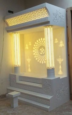temple design for home temple Living Room Partition Design, Pooja Room Door Design, Room Partition Designs, Living Room Sofa Design, Room Design Bedroom, Bedroom Furniture Design, Home Room Design, Home Interior Design, Temple Design For Home