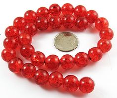 Red round Glass Crackle Beads, 10mm, 30 count.