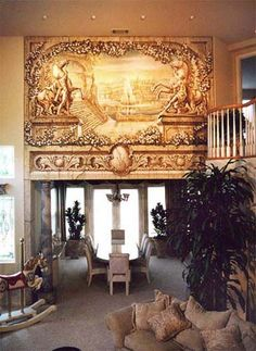 Classic Murals -Trompe l'oeil mural decoration above great entrance