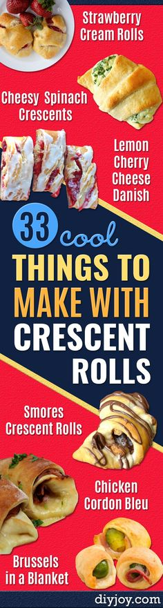 crescent roll recipes - Easy Homemade Dinner recipe ideas with crescent rolls easy Breakfast Snack Appetizers and Dessert - With Chicken and Ground Beef Hot Dogs Pizza Garlic Taco Sweet Desserts Crescent Rolls, Crescent Roll Appetizers, Crescent Roll Pizza, Crescent Roll Recipes, Meat Appetizers, Crescent Ring, Crescent Dough, Holiday Appetizers, Party Appetizers