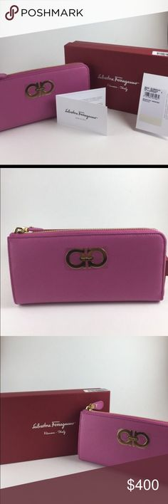 Ferragamo Pink Saffiano Leather Zip Gancini Wallet Brand-new never used Salvatore Ferragamo wallet. This would make an awesome valentines day gift! All proof of authenticity is included. Salvatore Ferragamo Bags Wallets
