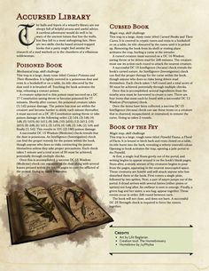 DnD 5e Homebrew — Accursed Library (book based skill challenges) by...