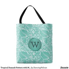 Tropical Damask Pattern with Monogram Tote Bag - A stylish monogram tote design in a turquoise tropical damask pattern. Personalize the monogram with your initial or other text. Sold at DancingPelican on Zazzle. #tote #Zazzle