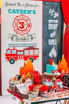 Rustic Firefighter Birthday Party                                                                                                                                                                                 Más