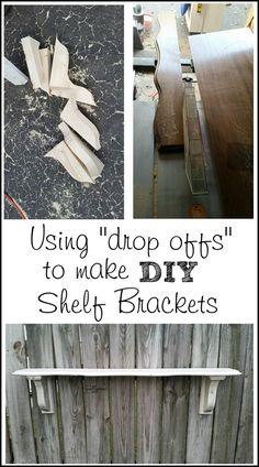 using scrap wood drop offs to make diy shelf corbels for part of an old desk top! MyRepurposedLife.com