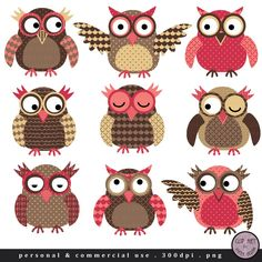 Owl Clip Art Choco Pink Owls in Brown and Pink by viveradesign