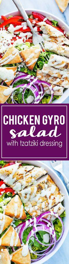 Chicken Gyro Salad with Tzatziki Dressing   Creme de la Crumb
