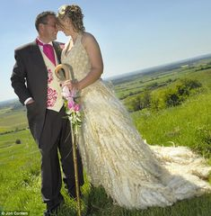 Shepherdess marries in a dress made from the wool from her own flock of sheep.