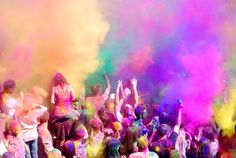 A mock Holi Festival in Utah. Also known as The Festival of Colors. It originated in India representing the coming of spring.