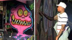 Chris Brown tagging up 76 station.sprayed both sides of a famed gas station! Chris Brown Art, Art Hoe, Gas Station, Sick, Royalty, Husband, Children, Royals, Young Children