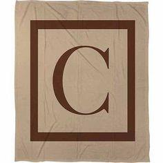 Thumbprintz Classic Block Monogram Fleece Throw, Caramel, Brown