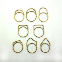 UN anneau d'empilage : Minime, architectural, élégante tous les jours bagues en bronze ou en Sterling.