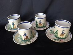 A-French-Set-of-Four-Quimper-HB-Demitasse-Cups-and-Saucers