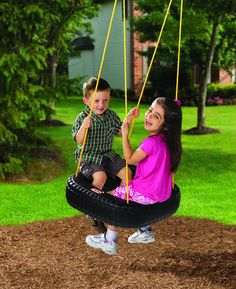 Classic fun comes alive on this old fashioned tire swing. The Little Tikes Tire Swing uses 2 secure bolts and can be secured to any swing set or tree. The Tire Swing can hold up to 3 kids at once and no assembly is required. Little Tikes Swing Set, Little Tykes, Diy Design, Pond Design, Modern Pond, Tire Playground, Playground Ideas, Outdoor Play, Outdoor Living