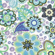 Blue/Green/White Floral Stretch Cotton Sateen