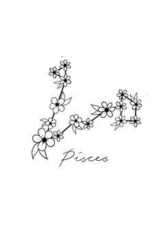 Pisces Star Sign Constellation by toptiermerch Dainty Tattoos, Pretty Tattoos, Cute Tattoos, Flower Tattoos, Star Tattoos, Dog Tattoos, Body Art Tattoos, Pisces Constellation Tattoo, Pisces Star Constellation