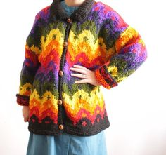 Colorful vintage rainbow cardigan by nemres Rainbow Cardigan, Vintage Colors, Sweater Cardigan, Button Up, Colorful, Warm, Pullover, Knitting, Sweaters