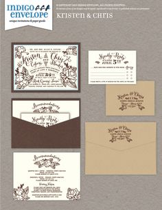 A hand-drawn wedding invitation, based on a template that is licensed and copyright by Envelopments, Inc. It includes peonies and other flowers. This event was held at the Rock Quarry Farm in Chapel Hill, North Carolina. #rusticweddings #chicweddings #indigoenvelope