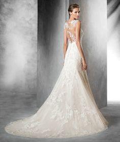 PLADIE - Vestido de noiva de tule estilo sereia com corte baixo