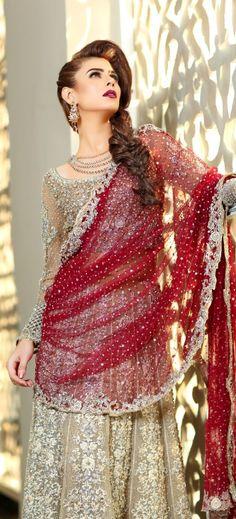 Maria B Latest Pakistani Bridal Dresses Collection 2017 Latest Bridal Dresses, Pakistani Wedding Dresses, Bridal Gowns, Wedding Hijab, Bridal Dress Design, Desi Clothes, Blue Bridesmaid Dresses, Dress Collection, Lehenga