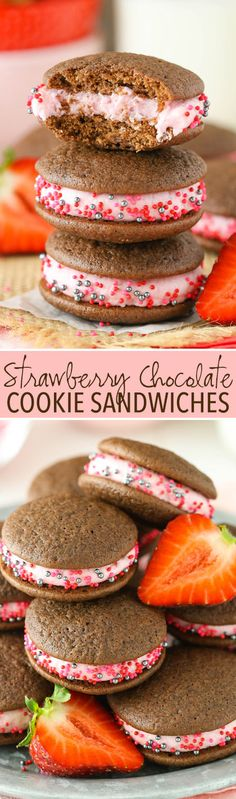 Strawberry Chocolate Cookie Sandwiches - soft chocolate cookies with strawberry frosting in the middle! Easy and so good!