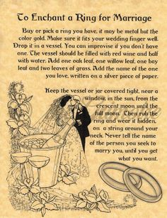 Enchant a Ring for Marriage, Book of Shadows Spell Page, Wicca, Witchcraft, BOS Wiccan Books, Wiccan Spell Book, Witch Spell, Wiccan Art, Spell Books, Healing Spells, Magick Spells, Wicca Witchcraft, Voodoo Spells