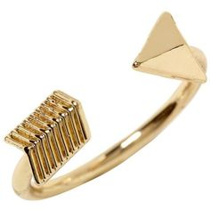 Hive & Honey Arrow Ring ❤ liked on Polyvore featuring jewelry, rings, accessories, bijoux, gold, wide rings and hive & honey